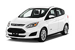 2017 Ford C-Max PHEV SE 5 Door Mini Van angular front stock photos of front three quarter view