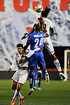 Rayo Vallecano´s Manucho and Levante UD´s Simao Mate during 2014-15 La Liga match between Rayo Vallecano and Levante UD at Vallecas stadium in Madrid, Spain. February 28, 2015. (ALTERPHOTOS/Luis Fernandez)