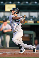 Jupiter Hammerheads second baseman Anthony Gomez (14) at bat during a game against the Bradenton Marauders on June 25, 2014 at McKechnie Field in Bradenton, Florida.  Bradenton defeated Jupiter 11-0.  (Mike Janes/Four Seam Images)