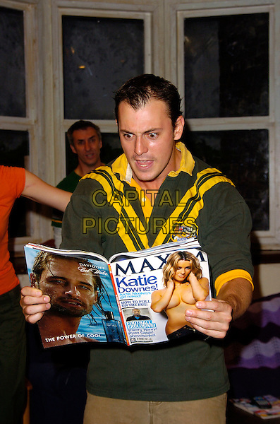 "BLAIR McDONOUGH .""The Vegemite Tales"" Production Photocall, The Venue Theatre, London, England, July 31st 2007..half length play scout's uniform top reading Maxim magazine .CAP/CAN.©Can Nguyen/Capital Pictures"