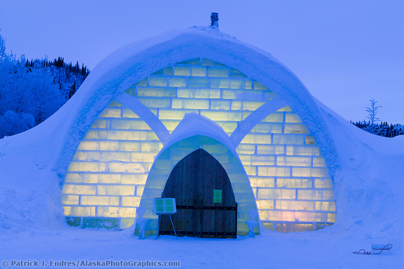 Aurora Ice Hotel, Chena Hot Springs, Alaska. A 30 ft. high gothic style ice structure built from ice and snow by World Ice Sculpting champion Steve Brice.