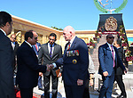 Egyptian President Abdel Fattah al-Sisi shakes hands with Australian Governor-general Sir Peter Cosgrove at El Alamein War Cemetary, during a ceremony marking 75 years since the pivotal WWII battle in the Egyptian Mediterranean town of the same name, about 100 kilometres (62 miles) west of Alexandria on October 21, 2017. The World War II Battle of El Alamein -- which began on October 23, 1942 -- pitched the Allied forces of British Field Marshal Bernard Montgomery's against his German counterpart Erwin Rommel's Afrika Korps. Photo by Egyptian President Office