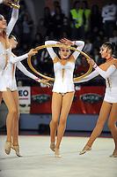 November 9, 2008; Durango, Spain (near Bilbao); Rhythmic gymnast Alina Maximenko performs gala with Ukraine senior group at 2008 Euskalgym International..