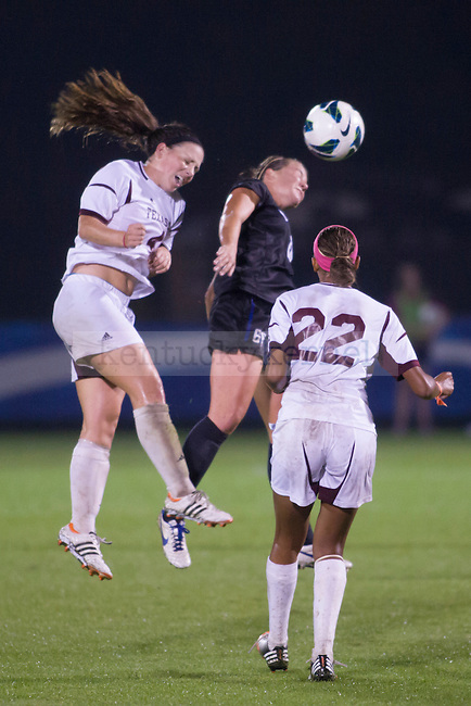 Junior Midfielder Danielle Krohn deflecting the ball during the second half of the University of Kentucky vs. Texas A&M Women's soccer game. Photo by: Adam Chaffins