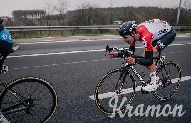 Tiesj Benoot (BEL/Lotto-Soudal) tucked in for speed<br /> <br /> 61th E3 Harelbeke (1.UWT)<br /> Harelbeke - Harelbeke (206km)