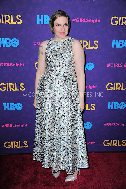 WWW.ACEPIXS.COM<br /> <br /> <br /> January 6, 2014, New York City, NY.<br /> <br /> <br /> Lena Dunham arriving at the 'Girls' Season 3 Premiere at Jazz at Lincoln Center on January 6, 2014 in NEw York City, NY.<br /> <br /> <br /> <br /> <br /> By Line:  William Bernard/ACE Pictures<br /> <br /> ACE Pictures, Inc<br /> Tel: 646 769 0430<br /> Email: info@acepixs.com