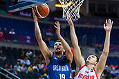 7th September 2017, Fenerbahce Arena, Istanbul, Turkey; FIBA Eurobasket Group D; Russia versus Great Britain; Point Guard Luke Nelson #19 of Great Britain lays up for 2 points under the basket