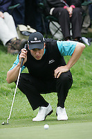 Ross Fisher lines up his putt on the 7th green during the 3rd round of the BMW PGA Championship at Wentworth Club, Surrey, England 26th may 2007 (Photo by Eoin Clarke/NEWSFILE)