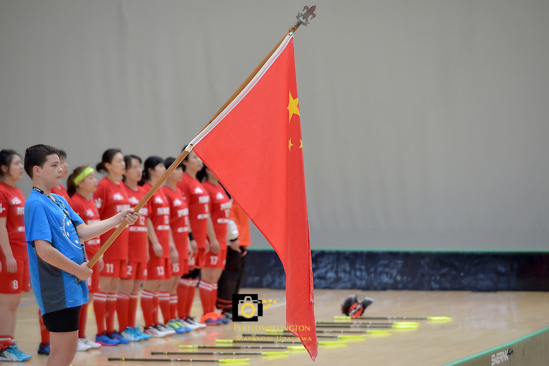 World Floorball Championships 2017 Qualification for Asia Oceania Region - Korea v China at ASB Sports Centre , Wellington, New Zealand on Saturday 4 February 2017.<br /> Photo by Masanori Udagawa<br /> www.photowellington.photoshelter.com.
