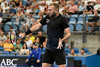 9th January 2020; Sydney Olympic Park Tennis Centre, Sydney, New South Wales, Australia; ATP Cup Australia, Sydney, Day 7; Great Britain versus Australia; Alex de Minaur of Australia versus Daniel Evans of Great Britain; Daniel Evans of Great Britain hits a return to Alex de Minaur of Australia - Editorial Use