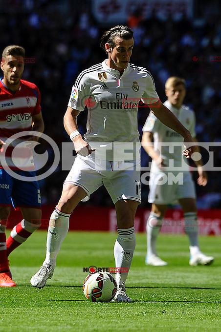 Real Madrid´s Gareth Bale during 2014-15 La Liga match between Real Madrid and Granada at Santiago Bernabeu stadium in Madrid, Spain. April 05, 2015. (ALTERPHOTOS/Luis Fernandez) /NORTEphoto.com