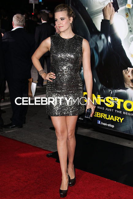 "WESTWOOD, CA, USA - FEBRUARY 24: Maggie Grace at the World Premiere Of Universal Pictures And Studiocanal's ""Non-Stop"" held at Regency Village Theatre on February 24, 2014 in Westwood, Los Angeles, California, United States. (Photo by Xavier Collin/Celebrity Monitor)"
