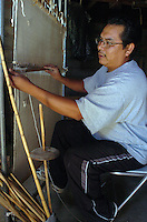 Hopi weaver James Poley learned on his uncle's upright weaving loom. It was that same loom he inherited as tools are passed down thru the clan only men are weavers and they pass the skill to.down to their nephews.