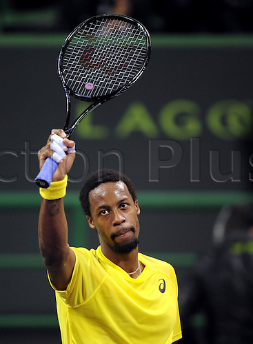 03.01.2014. Doha, Qatar.  Gael Monfils of France reacts after the mens singles semifinal match against Florian Mayer of Germany in Qatar Open tennis tournament, Jan. 3, 2014. Monfils won 2-0.