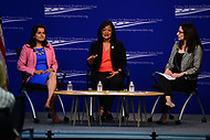 "Washington, DC - May 22, 2017: U.S. Representatives Nanette Diaz Barragán and Pramila Jayapal participate in the ""Beyond the Ambition Gap: Challenging the Systems That Keep Women Off Ballots and Out of Office"" panel discussion held by the Center for American Progress in the District of Columbia May 22, 2017. Carmel Martin, Executive Vice President, Center for American Progress Action Fund moderated the discussion. (Photo by Don Baxter/Media Images International)"