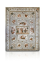 Picture of a Roman mosaics design depicting scenes from the Life of Dionysus, from the ancient Roman city of Thysdrus, House of Silenus. Late 2nd to early 3rd century AD. El Djem Archaeological Museum, El Djem, Tunisia. Against a white background<br /> <br /> In the central panel of this Roman mosaic the  teacher of Dionysus, Silenus, is being carried towards a donkey.