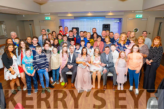 The double christening of cousins Genevieve O'Flaherty from Ardfert and Alva Fitzgerald from Ballyroe in the Ballyroe Heights Hotel on Saturday.<br /> Seated l to r: Enda, baby Genevieve and Amy O'Flaherty, Samantha, baby Alva and Brian Fitzgerald.