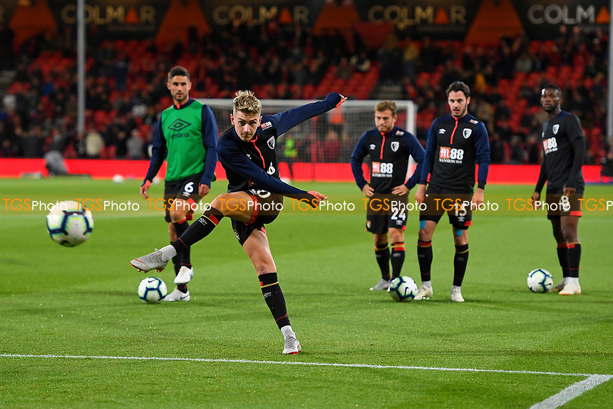 David Brooks of AFC Bournemouth has a shot on goal during the warm up during AFC Bournemouth vs Crystal Palace, Premier League Football at the Vitality Stadium on 1st October 2018