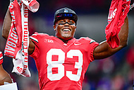 Indianapolis, IN - DEC 1, 2018: Ohio State Buckeyes wide receiver Terry McLaurin (83) celebrates on the podium after defeating the Northwestern Wildcats 45-24 in the Big Ten Championship game at Lucas Oil Stadium in Indianapolis, IN. (Photo by Phillip Peters/Media Images International)