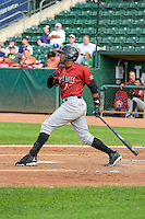 Brawlun Gomez (32) of the Idaho Falls Chukars at bat against the Ogden Raptors in Pioneer League action at Lindquist Field on August 26, 2015 in Ogden, Utah. Ogden defeated the Chukars 5-1. (Stephen Smith/Four Seam Images)