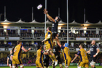 Luke Charteris of Bath Rugby rises high to win lineout ball. European Rugby Challenge Cup match, between Bath Rugby and Bristol Rugby on October 20, 2016 at the Recreation Ground in Bath, England. Photo by: Patrick Khachfe / Onside Images