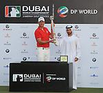 H.H. Sheikh Hamdan Bin Mohammed bin Rashid Al Maktoum presenting Robert Karlsson with the  Dubai World Championship at the Earth Course at the Jumeirah Golf Estate, Dubai..Picture Fran Caffrey/www.golffile.ie.