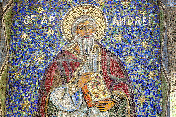 Mosaic of Saint Andrew on exterior of Saint Peter and Saint Paul the Apostles Cathedral, Constanta, Romania   June 2015<br /> CAP/MEL<br /> &copy;MEL/Capital Pictures /MediaPunch ***NORTH AND SOUTH AMERICA ONLY***