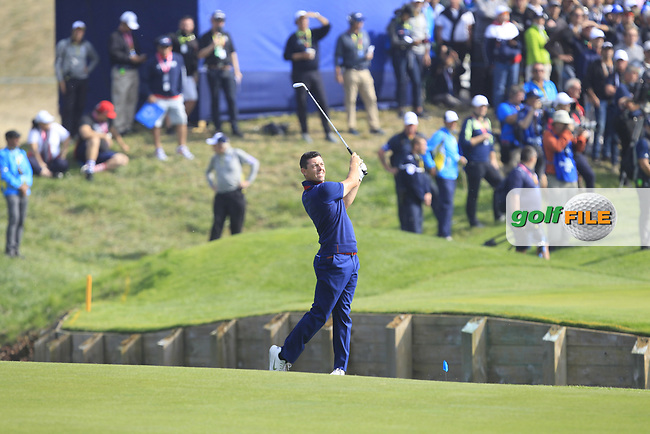 Rory McIlroy (Team Europe) on the 1st fairway during the Friday Foursomes at the Ryder Cup, Le Golf National, Ile-de-France, France. 28/09/2018.<br /> Picture Thos Caffrey / Golffile.ie<br /> <br /> All photo usage must carry mandatory copyright credit (© Golffile | Thos Caffrey)