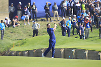 Rory McIlroy (Team Europe) on the 1st fairway during the Friday Foursomes at the Ryder Cup, Le Golf National, Ile-de-France, France. 28/09/2018.<br /> Picture Thos Caffrey / Golffile.ie<br /> <br /> All photo usage must carry mandatory copyright credit (&copy; Golffile | Thos Caffrey)