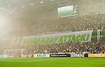 Stockholm 2015-08-24 Fotboll Allsvenskan Djurg&aring;rdens IF - Hammarby IF :  <br /> Hammarbys supportrar med en banderoll med texten &quot; Hammarby attack &quot; under matchen mellan Djurg&aring;rdens IF och Hammarby IF <br /> (Foto: Kenta J&ouml;nsson) Nyckelord:  Fotboll Allsvenskan Djurg&aring;rden DIF Tele2 Arena Hammarby HIF Bajen supporter fans publik supporters tifo