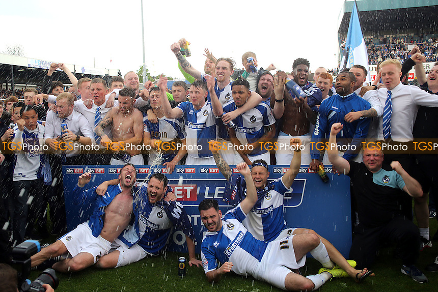 Bristol Rovers celebrate being promoted to League One after Bristol Rovers vs Dagenham and Redbridge, Sky Bet League 2 Football at the Memorial Stadium on 7th May 2016