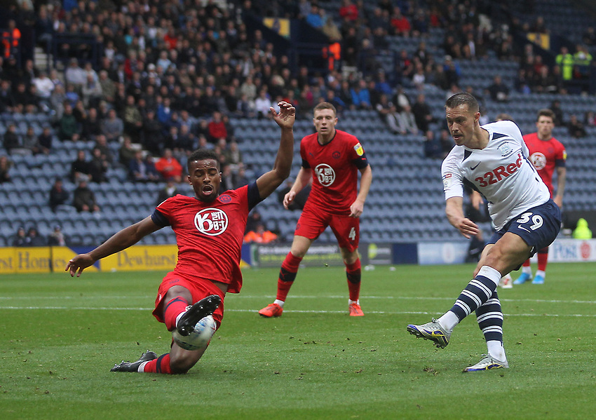 Preston North End's Billy Bodin gets a shot on goal<br /> <br /> Photographer Mick Walker/CameraSport<br /> <br /> The EFL Sky Bet Championship - Preston North End v Wigan Athletic - Saturday 10th August 2019 - Deepdale Stadium - Preston<br /> <br /> World Copyright © 2019 CameraSport. All rights reserved. 43 Linden Ave. Countesthorpe. Leicester. England. LE8 5PG - Tel: +44 (0) 116 277 4147 - admin@camerasport.com - www.camerasport.com