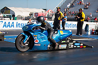 Sep 27, 2019; Madison, IL, USA; NHRA pro stock motorcycle rider Andie Rollins during qualifying for the Midwest Nationals at World Wide Technology Raceway. Mandatory Credit: Mark J. Rebilas-USA TODAY Sports