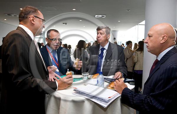 BRUSSELS - BELGIUM - 16 SEPTEMBER 2010 --Serbia 10 years after - moving on towards the EU - open hearing at the European Parliament. -- Lunch break,  Eduard Kukan MEP (2nd ri) and Jelko Kacin MEP (le). -- PHOTO: Juha ROININEN / EUP-IMAGES