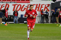 Harrison, NJ - Wednesday Feb. 22, 2017: Aaron Long prior to a Scotiabank CONCACAF Champions League quarterfinal match between the New York Red Bulls and the Vancouver Whitecaps FC at Red Bull Arena.