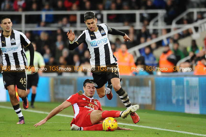 Ayoze Perez of Newcastle United is fouled by Ben Marshall of Blackburn Rovers during Newcastle United vs Blackburn Rovers, Sky Bet EFL Championship Football at St. James' Park on 26th November 2016