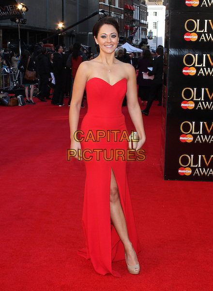 Susannah Fielding.The Olivier Awards held at the Royal Opera House, Covent Garden, London, England..April 15th 2012.full length red strapless dress slit split beige clutch bag shoes.CAP/ROS.©Steve Ross/Capital Pictures