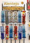 Display rack of souvenir picture bookmarks city of Evora, Alto Alentejo, Portugal