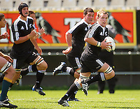 Alex Taylor breaks to set up NZ's first try during the International rugby match between New Zealand Secondary Schools and Suncorp Australia Secondary Schools at Yarrows Stadium, New Plymouth, New Zealand on Friday, 10 October 2008. Photo: Dave Lintott / lintottphoto.co.nz
