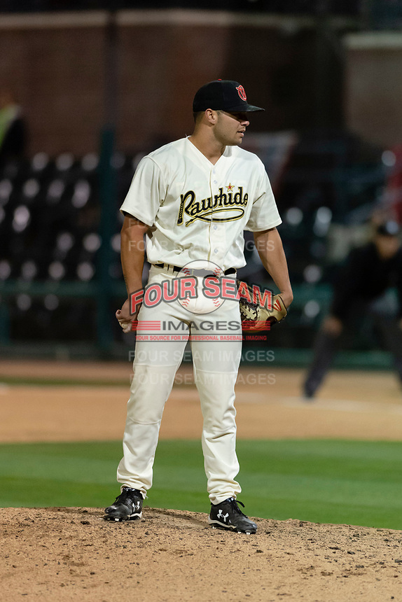 Visalia Rawhide relief pitcher Kyler Stout (16) during a California League game against the Rancho Cucamonga Quakes on April 9, 2019 in Visalia, California. Visalia defeated Rancho Cucamonga 8-5. (Zachary Lucy/Four Seam Images)