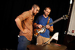 September 14, 2010.  Durham, North Carolina.. Pinson Chanselle and Cameron Ralston look over the arrangement.. Day One of Sounds of the South, a reinterpretation of Alan Lomax's field recordings, with music by Megafaun, Fight the Big Bull, Sharon Van Etten and Justin Vernon of Bon Iver..