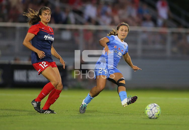 Boyds, MD - Saturday July 09, 2016: Katie Stengel, Danielle Colaprico during a regular season National Women's Soccer League (NWSL) match between the Washington Spirit and the Chicago Red Stars at Maureen Hendricks Field, Maryland SoccerPlex.