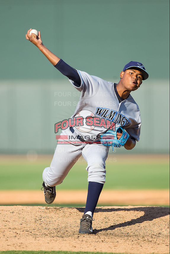 Wilmington Blue Rocks starting pitcher Miguel Almonte (27) in action against the Winston-Salem Dash at BB&T Ballpark on July 6, 2014 in Winston-Salem, North Carolina.  The Dash defeated the Blue Rocks 7-1.   (Brian Westerholt/Four Seam Images)