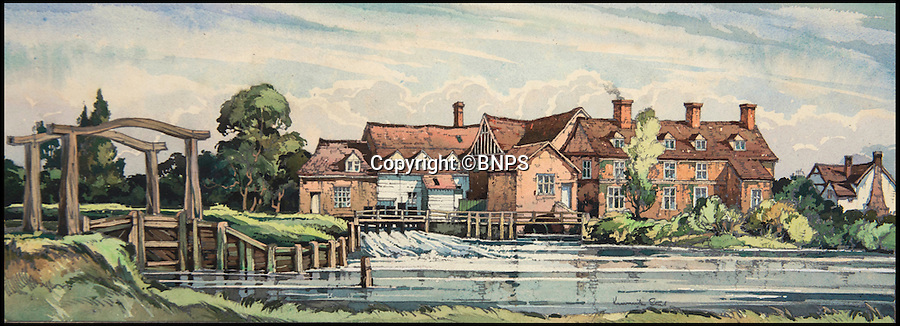 BNPS.co.uk (01202 558833)<br /> Pic: TomWren/BNPS<br /> <br /> Flatford Mill, Suffolk by Kenneth Steel.<br /> <br /> A collection of vintage posters used to promote Britain's railways during the golden age of steam have gone on sale for a whopping &pound;20,000 after being saved from the skip.<br /> <br /> Quick-thinking railway worker Albert Cook heard the 130 carriage panel prints from the 1930s including 12 original artworks were to be thrown away at London's Liverpool Street Station, so he asked permission to take them home.<br /> <br /> The art deco-style posters advertised popular destinations such as Northumberland's Whitley Bay, Woodhall Spa in Lincs and Dovercourt Bay in Essex as railway tourism opened up Britain to the masses.<br /> <br /> The archive will be sold by Onslows auctioneers in Blandford, Dorset, on July 14.