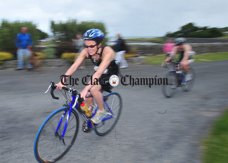 Taking a bend during the Burren Triathlon in Ballyvaughan at the weekend. Photograph by Declan Monaghan