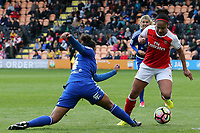 Jess Carter of Birmingham City Ladies and Alex Scott of Arsenal Ladies during Arsenal Ladies vs Birmingham City Ladies, FA Women's Super League FA WSL1 Football at the Hive Stadium on 20th May 2017