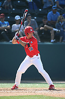 Mitchell Morimoto (16) of the Arizona Wildcats bats against the UCLA Bruins at Jackie Robinson Stadium on March 19, 2017 in Los Angeles, California. UCLA defeated Arizona, 8-7. (Larry Goren/Four Seam Images)