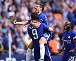 Cesar Azpilicueta of Chelsea celebrates with 2nd goalscorer Alvaro Morata of Chelsea during the FA cup semi-final match at Wembley Stadium, London. Picture date 22nd April, 2018. Picture credit should read: Robin Parker/Sportimage