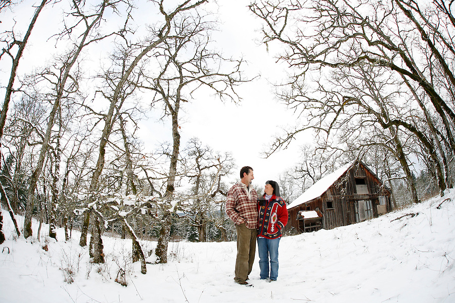 Irvin Banman and his wife Annette Rosewich stand among gnarly Garry oak meadows on a 55-acre scenic preserve owned by the Nature Conservancy of Canada on Maple Bay Road near Duncan, BC. Banman is the manager of the preserve. Photo assignment for the Globe and Mail national newspaper in Canada.