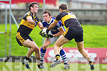 Ambrose O'Donovan and Eoin Brosnan Dr Crokes in action against David Moran Kerins O'Rahillys in the Semi Finals of the Senior County Football Championship at Austin Stack Park on Sunday.